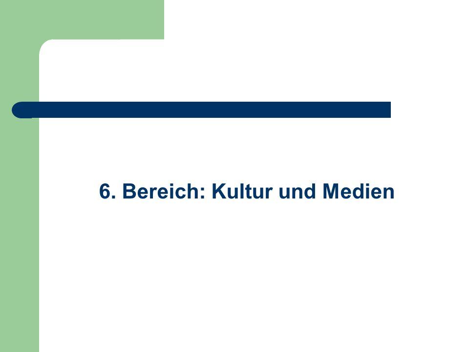 6. Bereich: Kultur und Medien