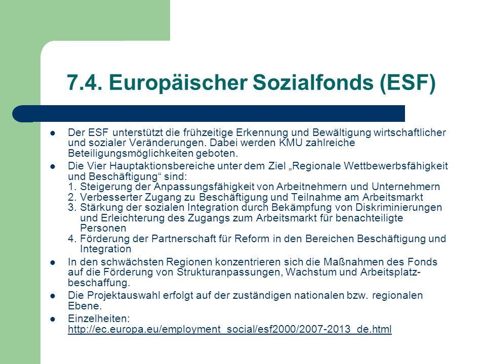 7.4. Europäischer Sozialfonds (ESF)