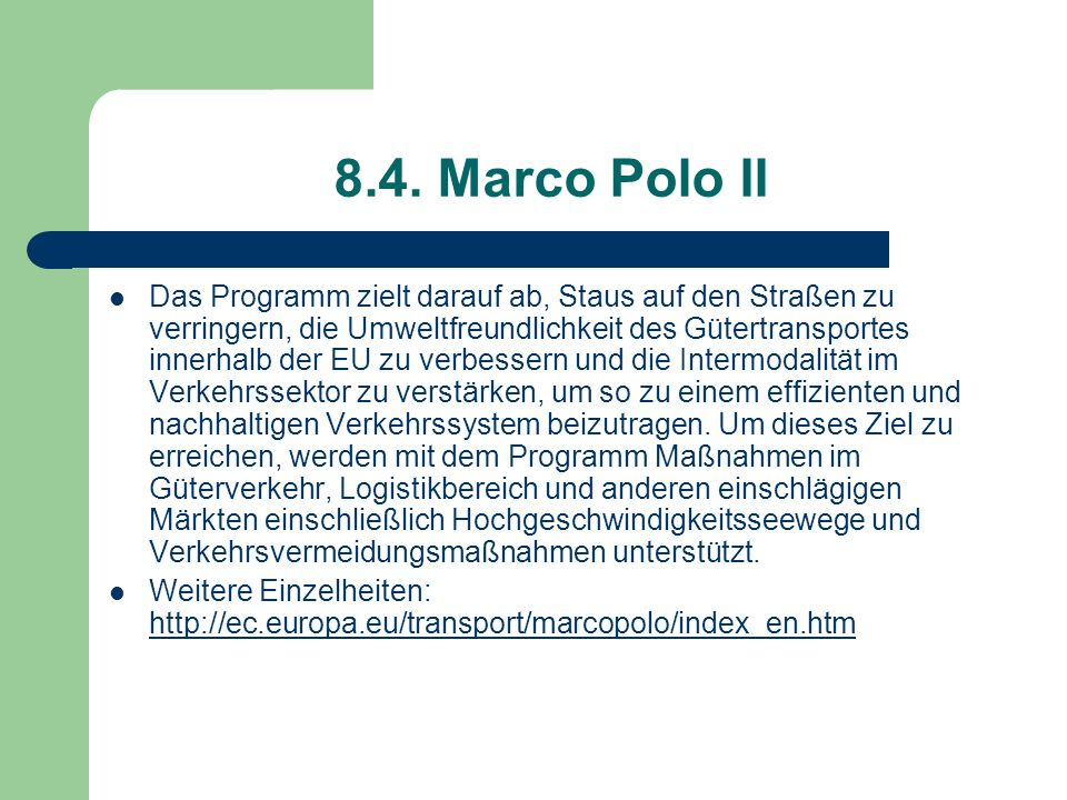 8.4. Marco Polo II