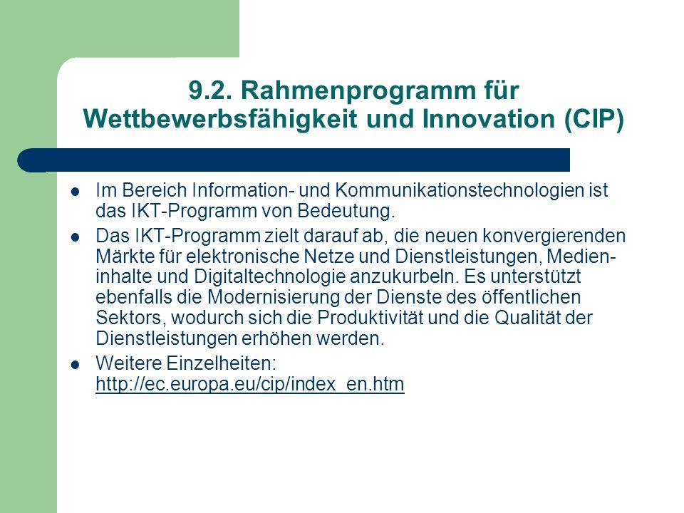 9.2. Rahmenprogramm für Wettbewerbsfähigkeit und Innovation (CIP)