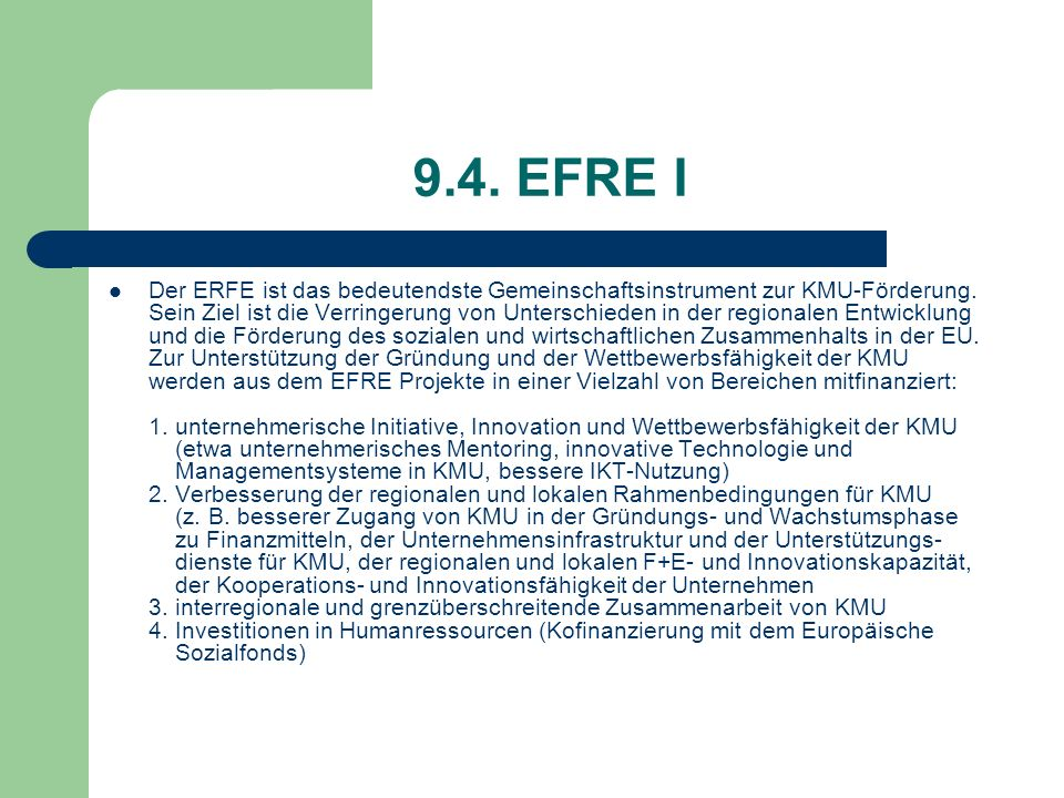 9.4. EFRE I