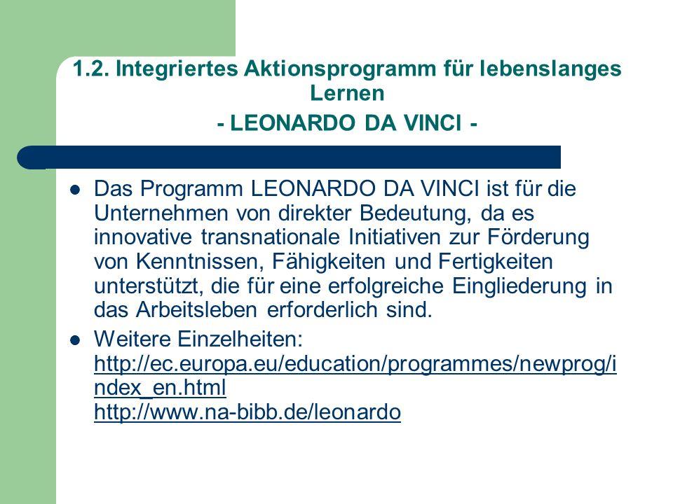 1.2. Integriertes Aktionsprogramm für lebenslanges Lernen - LEONARDO DA VINCI -