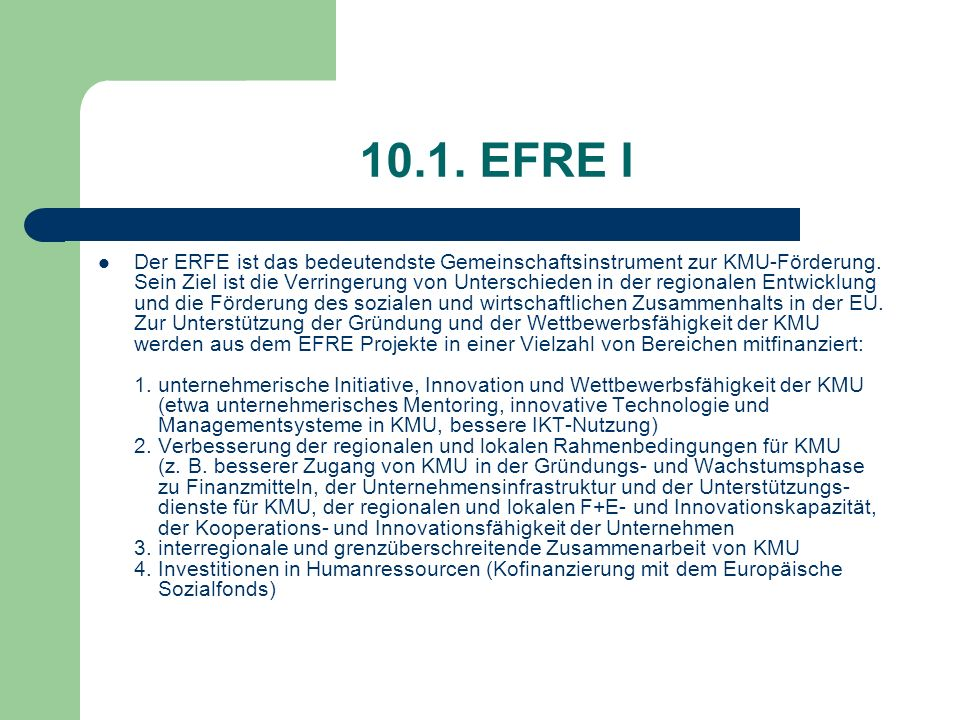 10.1. EFRE I
