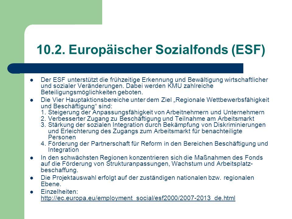 10.2. Europäischer Sozialfonds (ESF)