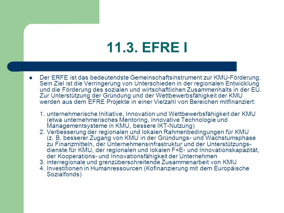 11.3. EFRE I