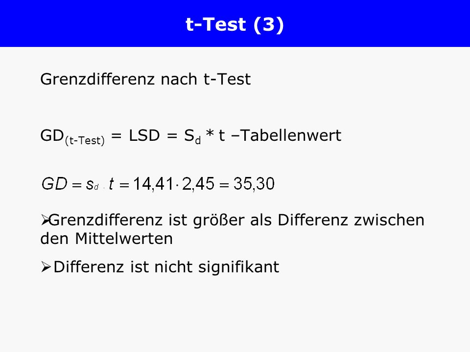 t-Test (3) Grenzdifferenz nach t-Test
