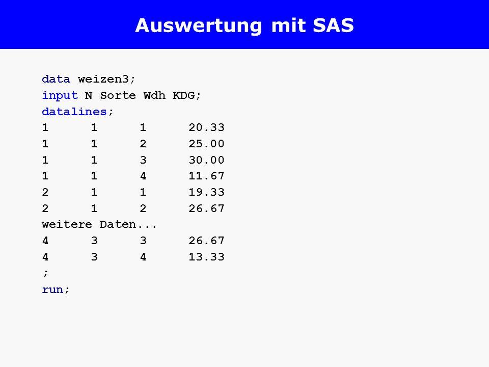 Auswertung mit SAS data weizen3; input N Sorte Wdh KDG; datalines;