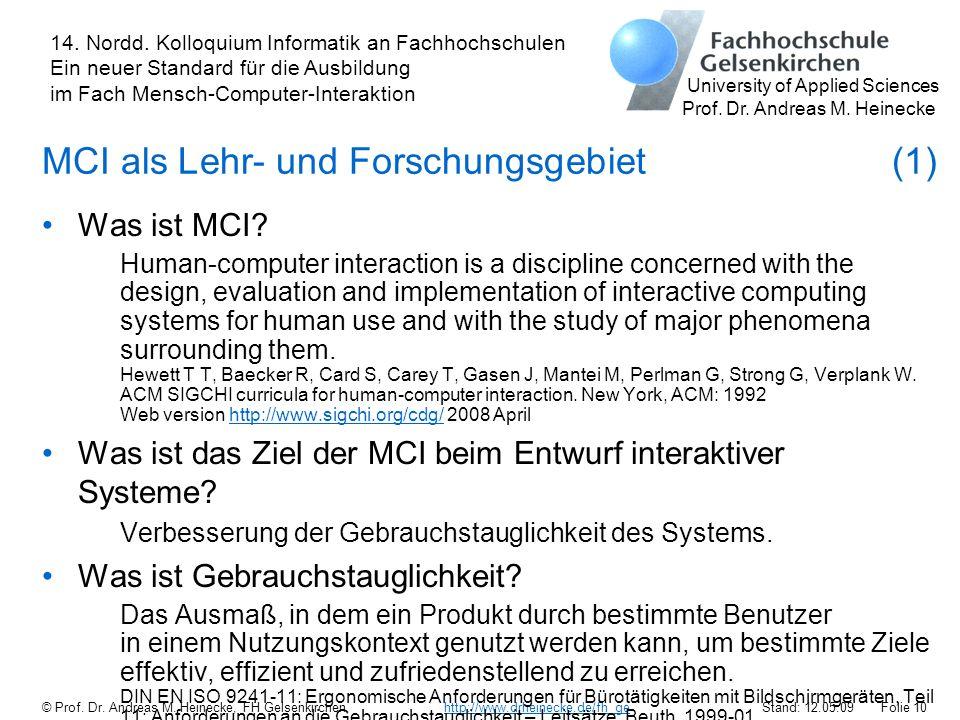 MCI als Lehr- und Forschungsgebiet (1)