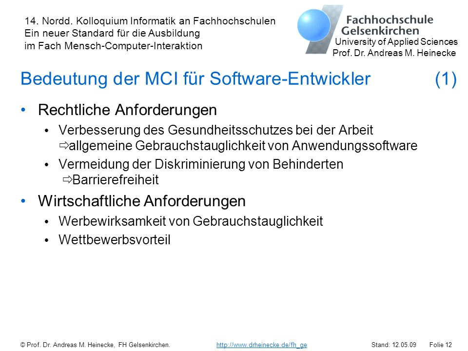 Bedeutung der MCI für Software-Entwickler (1)