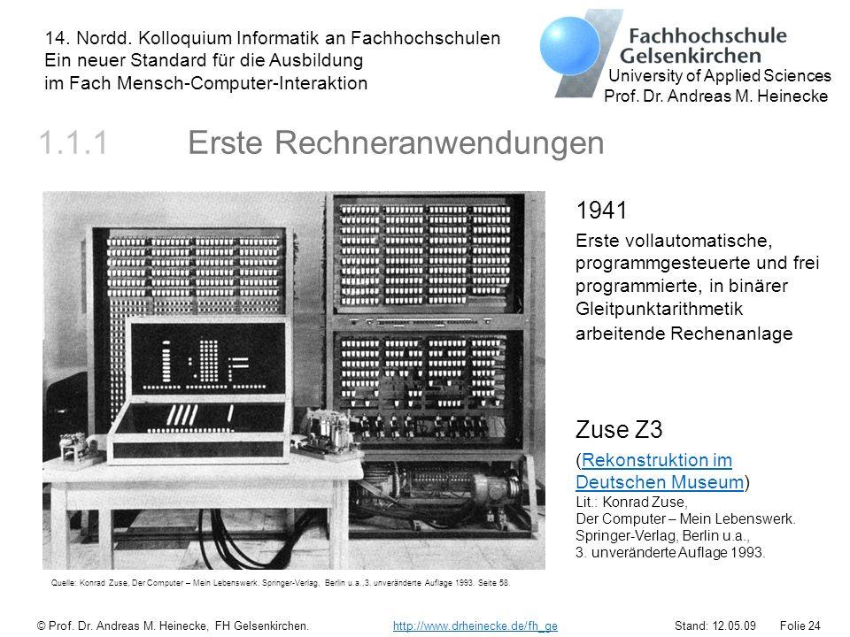 1.1.1 Erste Rechneranwendungen