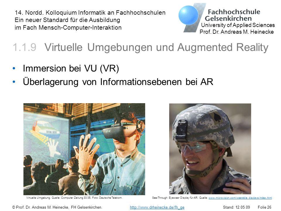 1.1.9 Virtuelle Umgebungen und Augmented Reality
