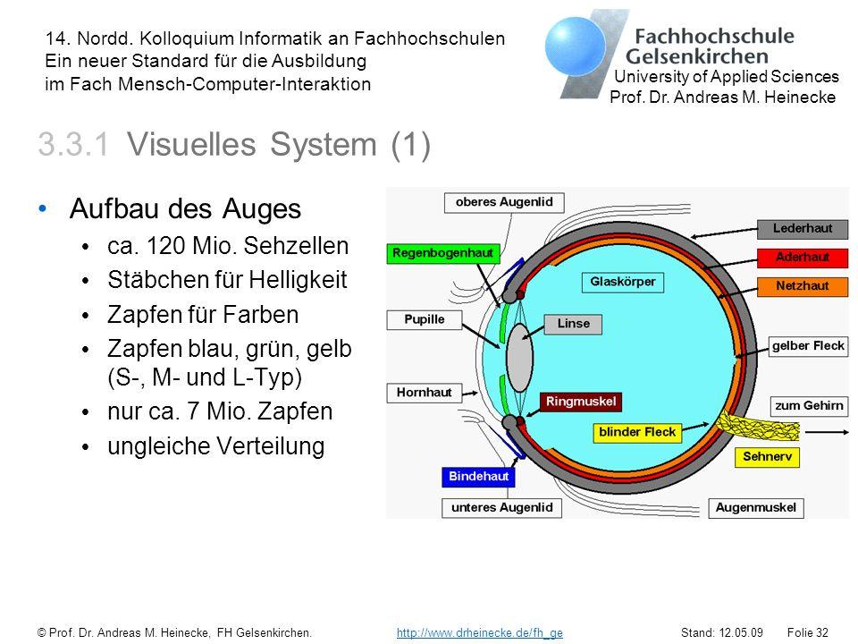 3.3.1 Visuelles System (1) Aufbau des Auges ca. 120 Mio. Sehzellen
