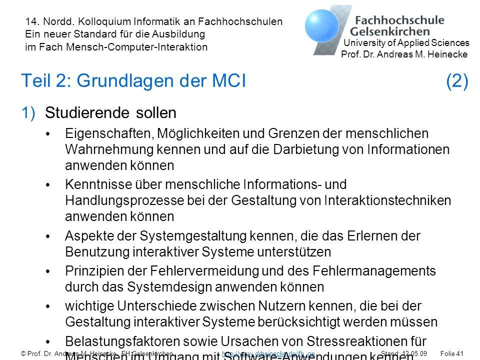 Teil 2: Grundlagen der MCI (2)