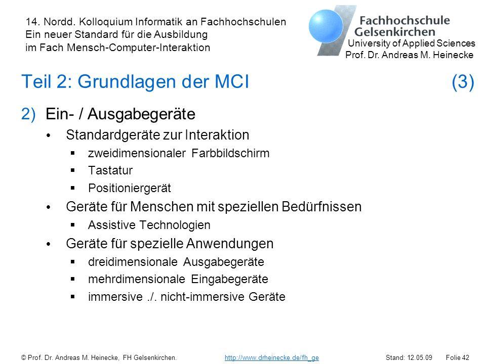 Teil 2: Grundlagen der MCI (3)