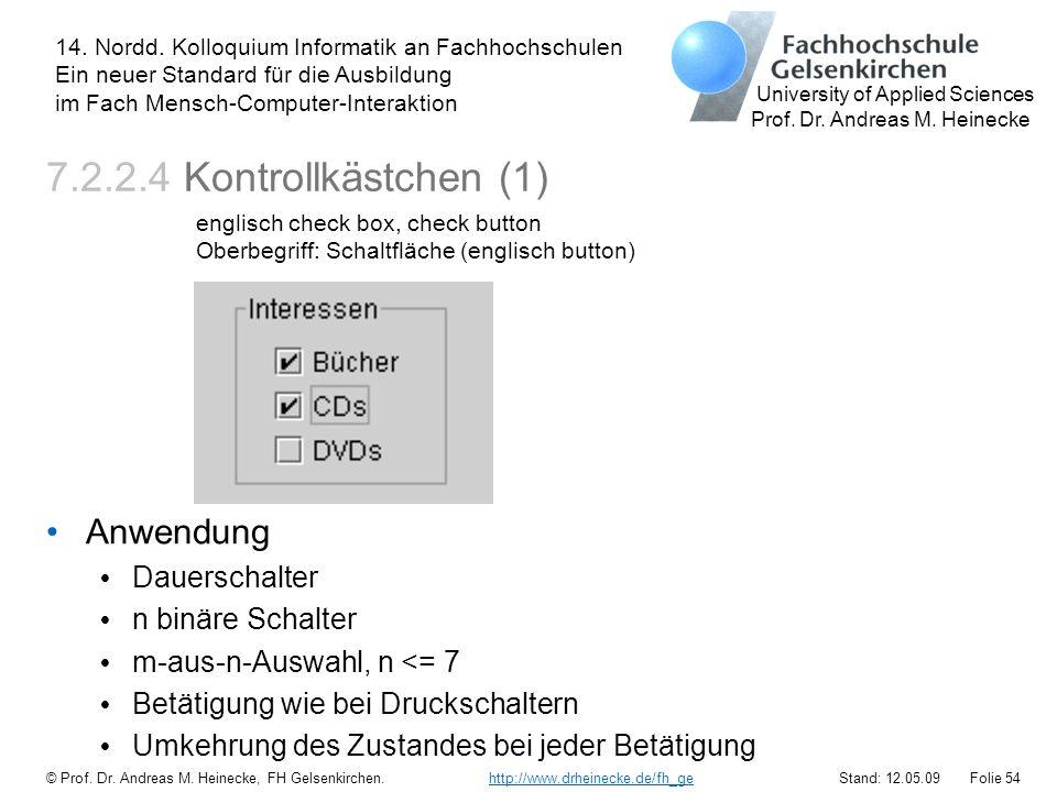 7.2.2.4 Kontrollkästchen (1) Anwendung Dauerschalter n binäre Schalter