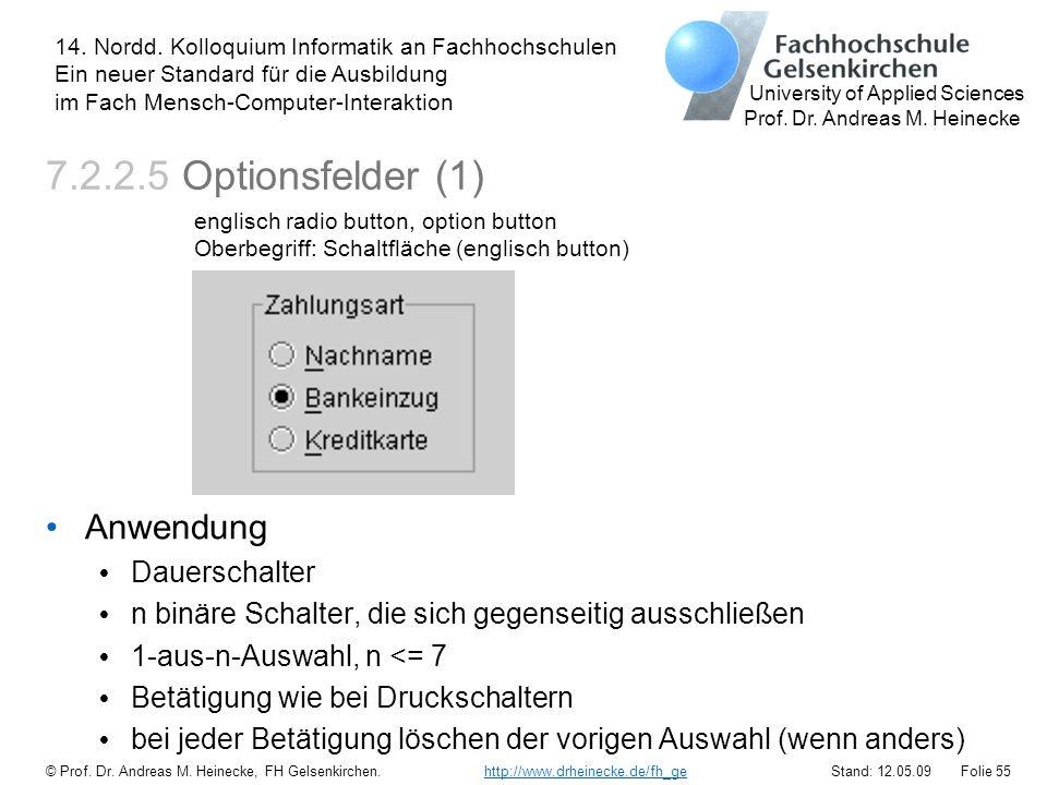 7.2.2.5 Optionsfelder (1) Anwendung Dauerschalter