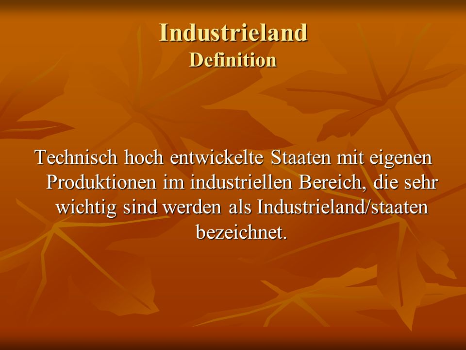 Industrieland Definition