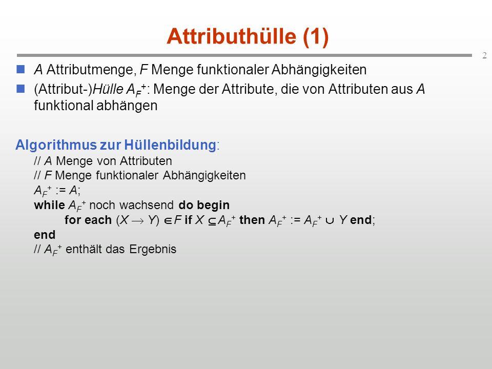 Attributhülle (1) A Attributmenge, F Menge funktionaler Abhängigkeiten