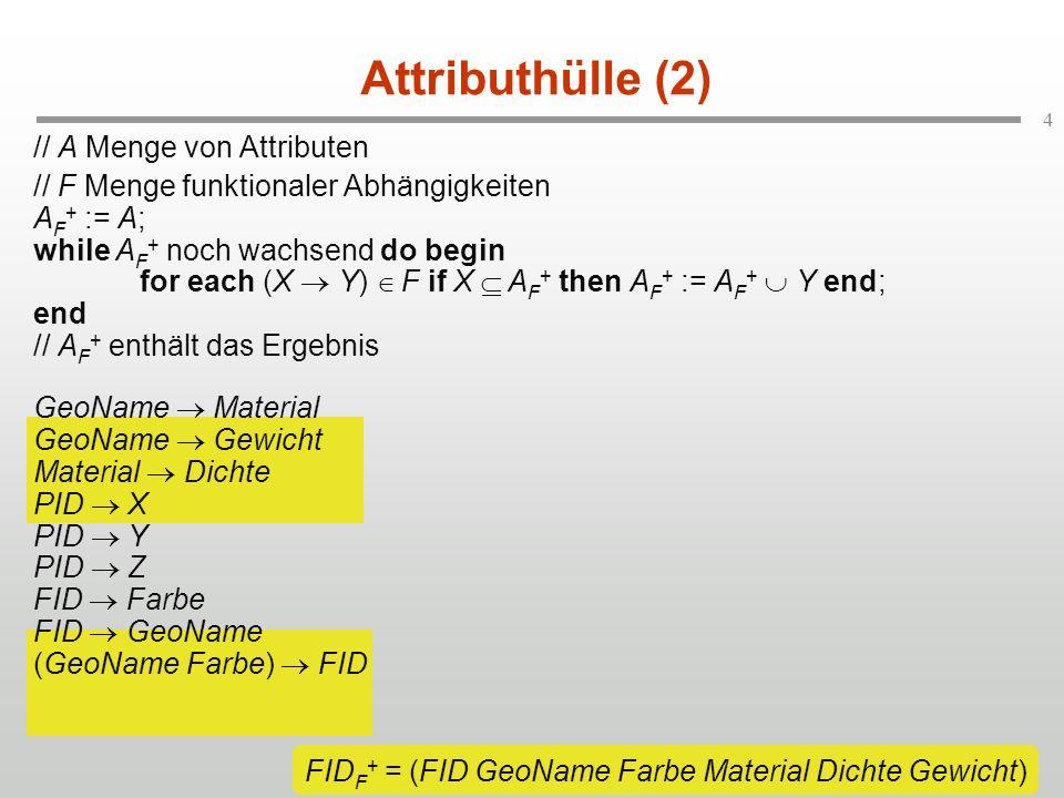 FIDF+ = (FID GeoName Farbe Material Dichte Gewicht)