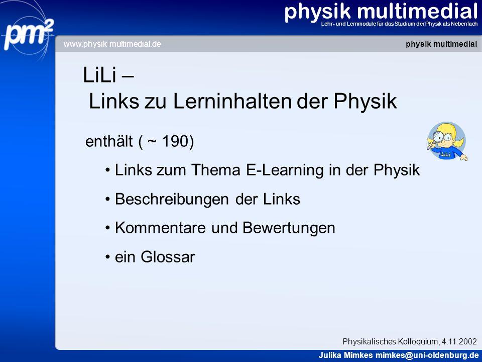 LiLi – Links zu Lerninhalten der Physik