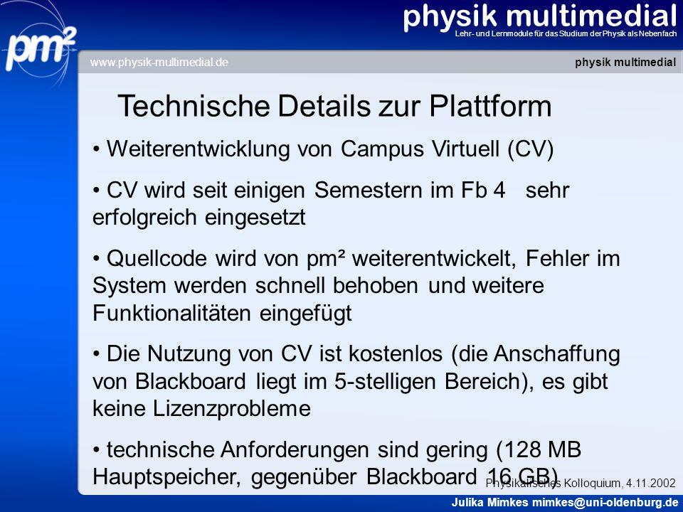 Technische Details zur Plattform