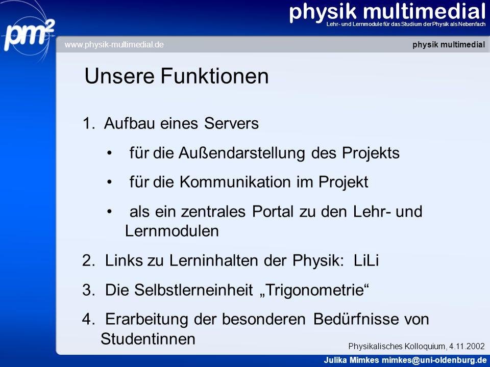 physik multimedial Unsere Funktionen Aufbau eines Servers
