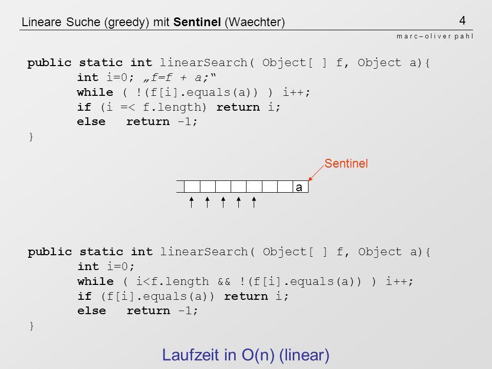 Lineare Suche (greedy) mit Sentinel (Waechter)
