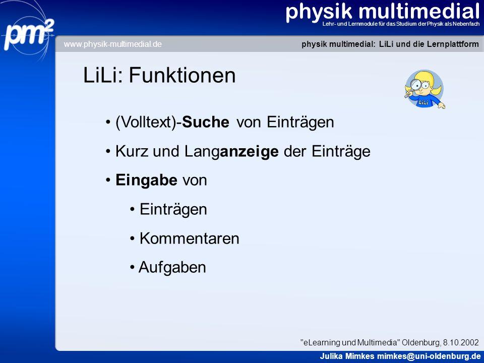 physik multimedial LiLi: Funktionen (Volltext)-Suche von Einträgen