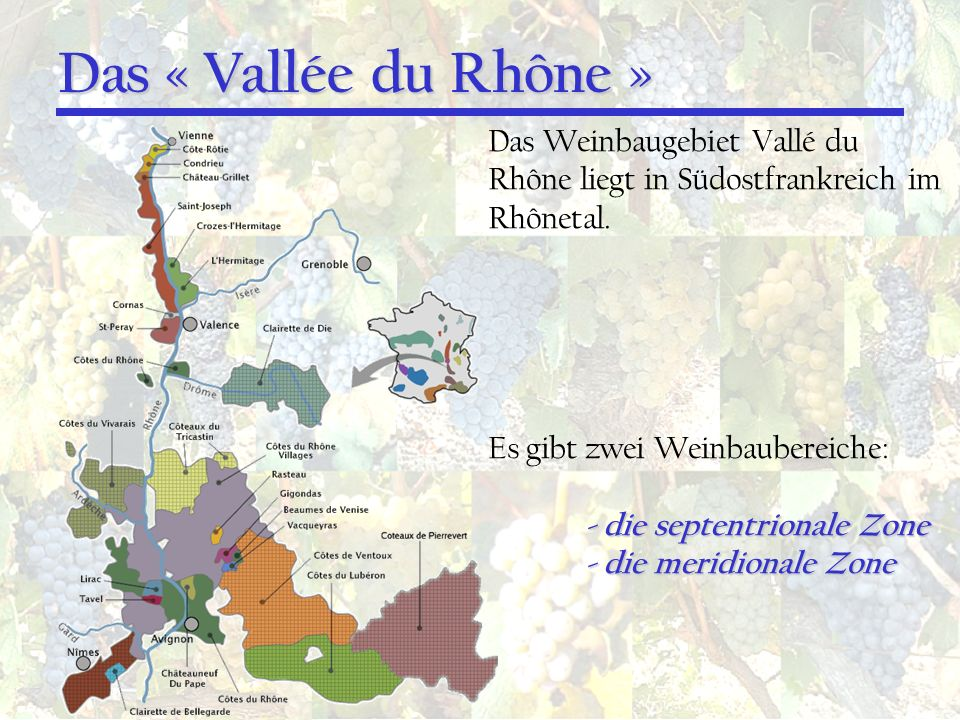 Das « Vallée du Rhône » Das Weinbaugebiet Vallé du Rhône liegt in Südostfrankreich im Rhônetal. Es gibt zwei Weinbaubereiche: