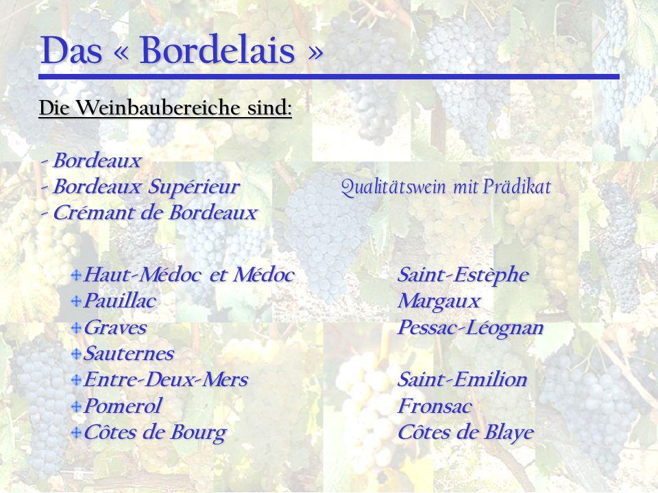Das « Bordelais » Die Weinbaubereiche sind: - Bordeaux