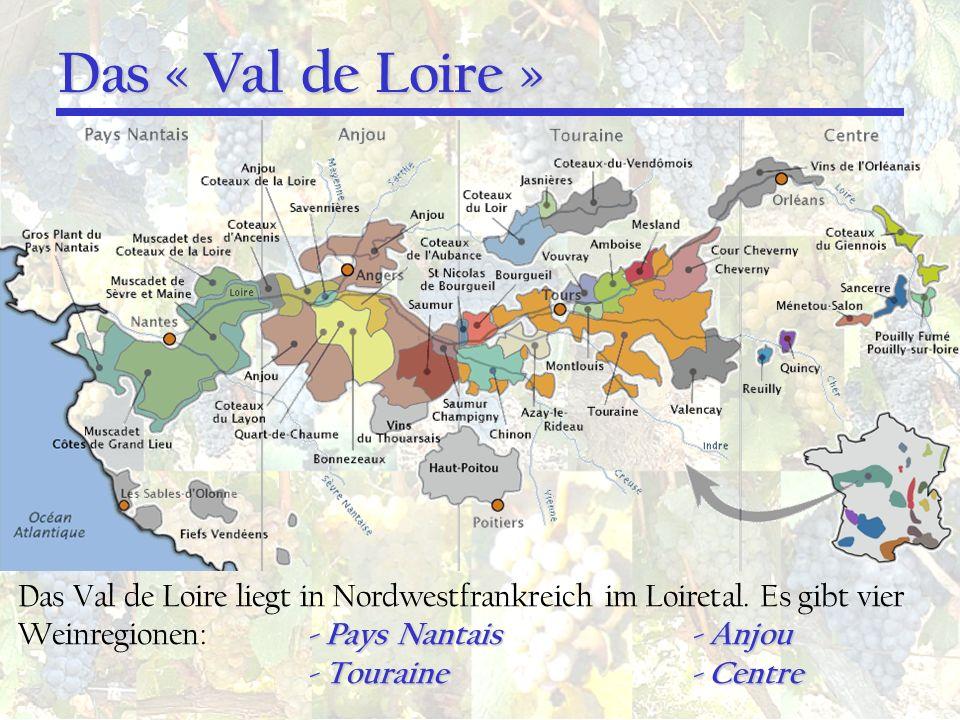 Das « Val de Loire » Das Val de Loire liegt in Nordwestfrankreich im Loiretal. Es gibt vier Weinregionen: - Pays Nantais - Anjou.