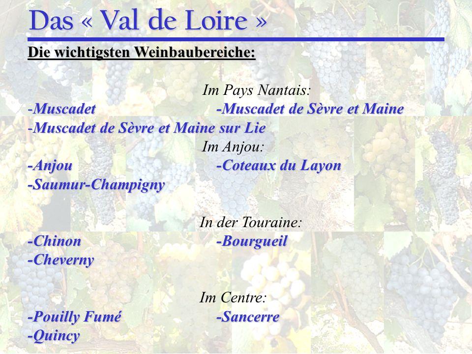 Das « Val de Loire » Die wichtigsten Weinbaubereiche: Im Pays Nantais:
