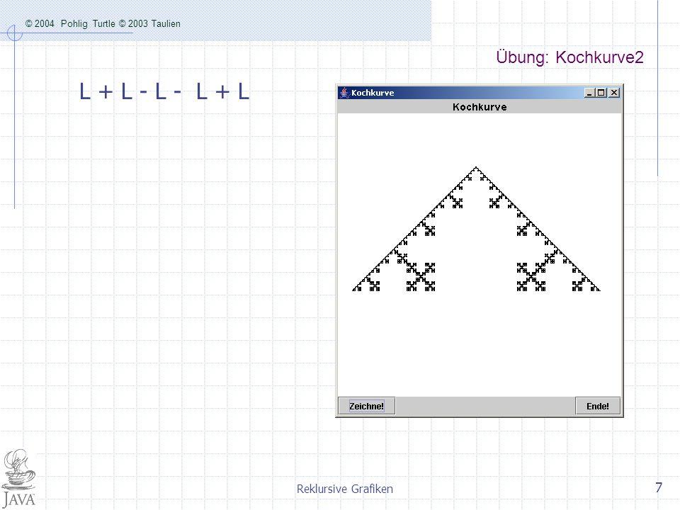 Übung: Kochkurve2 L + L - L - L + L Reklursive Grafiken