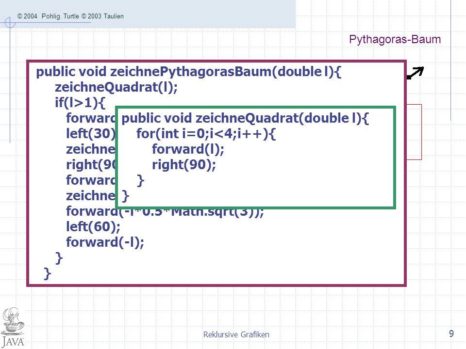 public void zeichne() { double l=60; t1.jumpTo(40,-150);