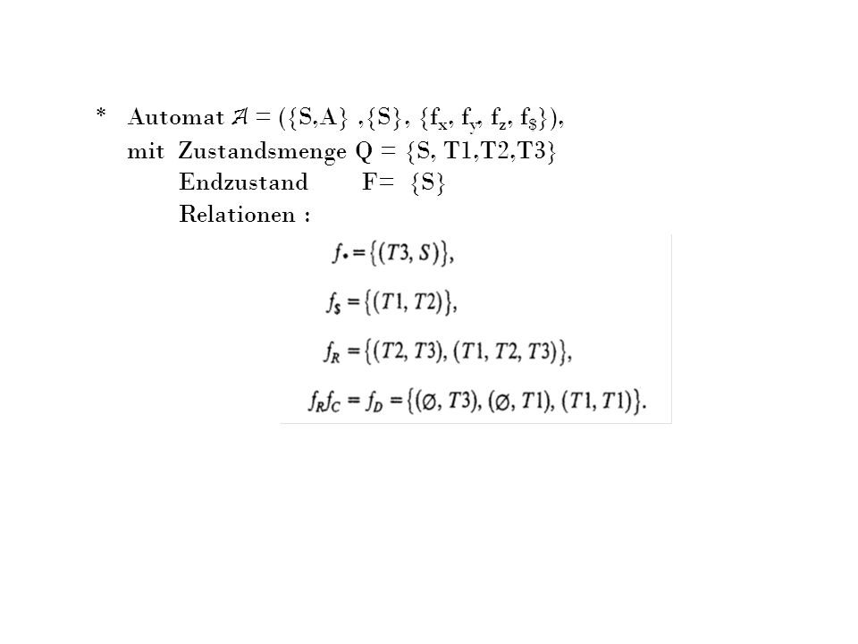 mit Zustandsmenge Q = {S, T1,T2,T3} Endzustand F= {S} Relationen :