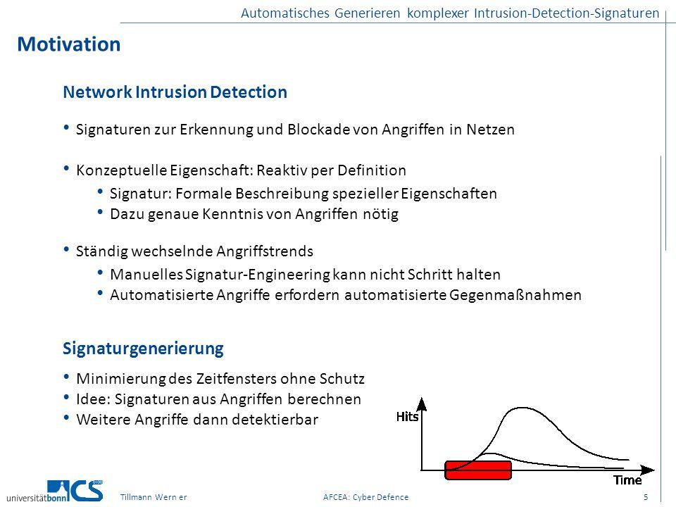 Motivation Network Intrusion Detection Signaturgenerierung