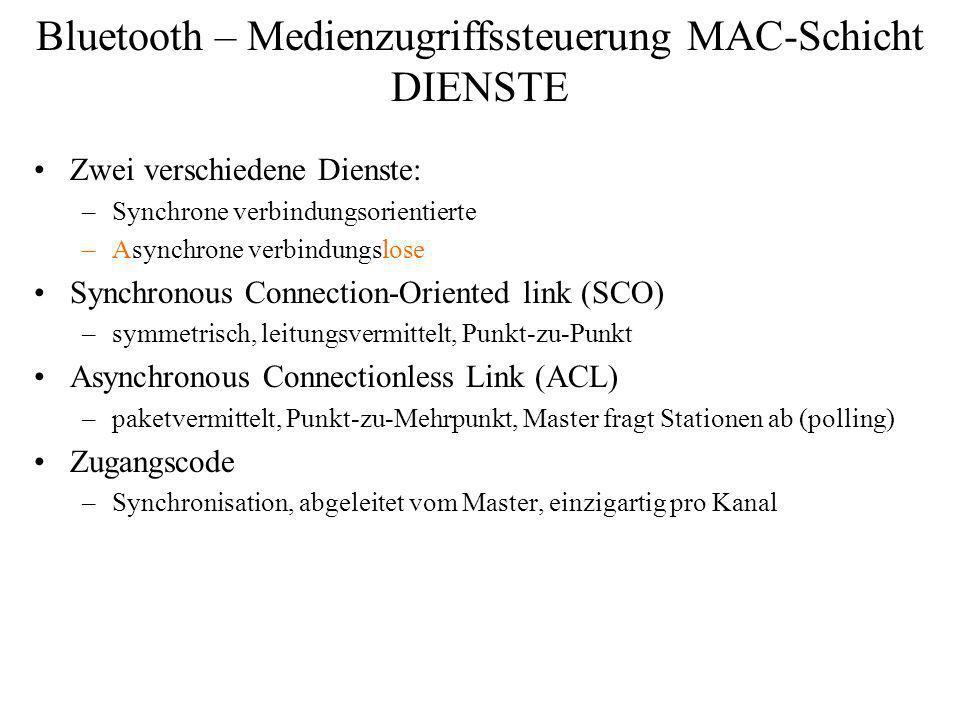 Bluetooth – Medienzugriffssteuerung MAC-Schicht DIENSTE