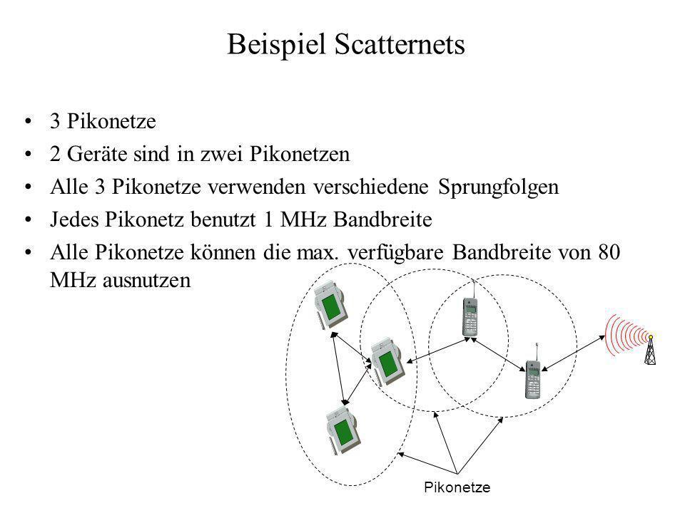 Beispiel Scatternets 3 Pikonetze 2 Geräte sind in zwei Pikonetzen