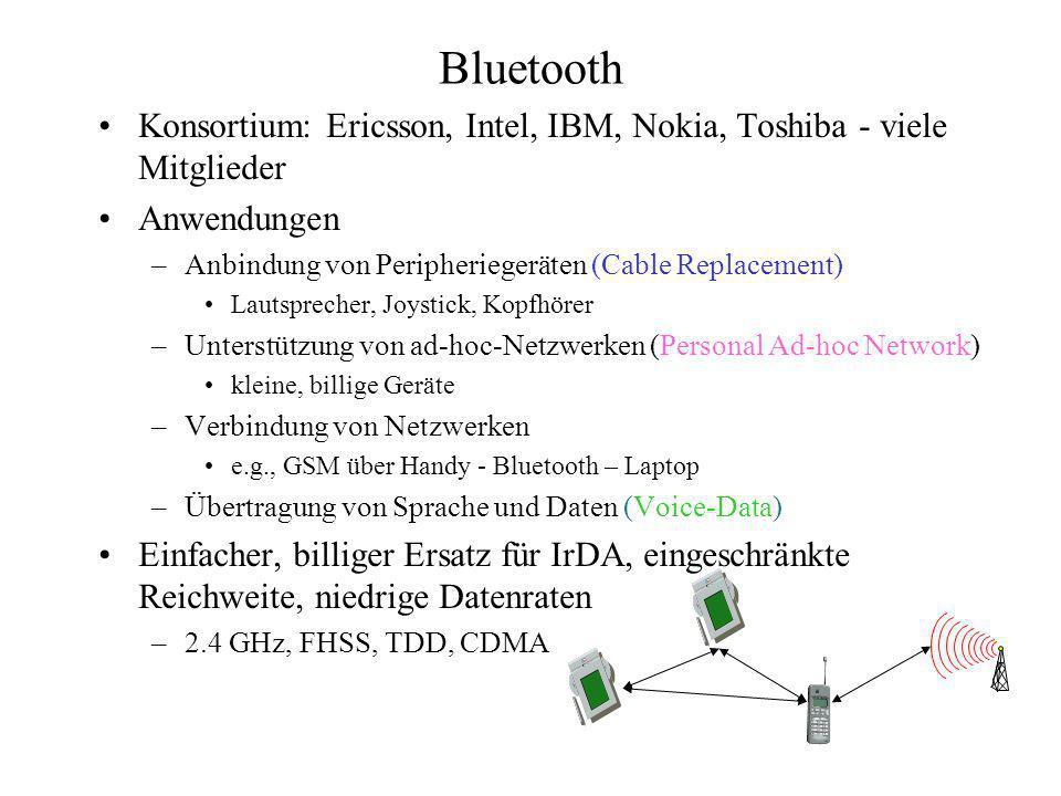 Bluetooth Konsortium: Ericsson, Intel, IBM, Nokia, Toshiba - viele Mitglieder. Anwendungen. Anbindung von Peripheriegeräten (Cable Replacement)