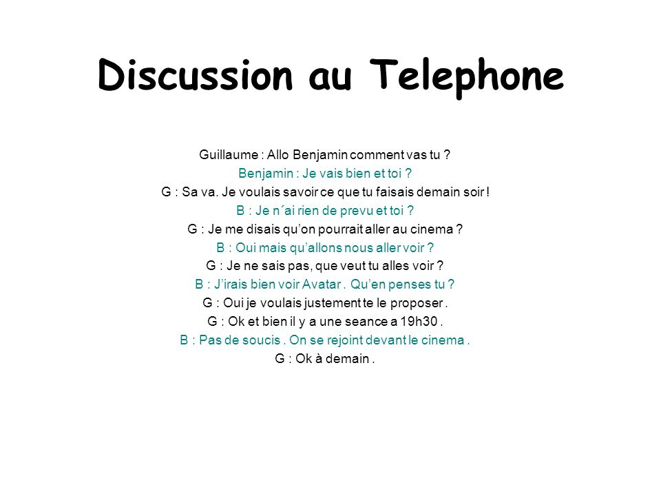 Discussion au Telephone