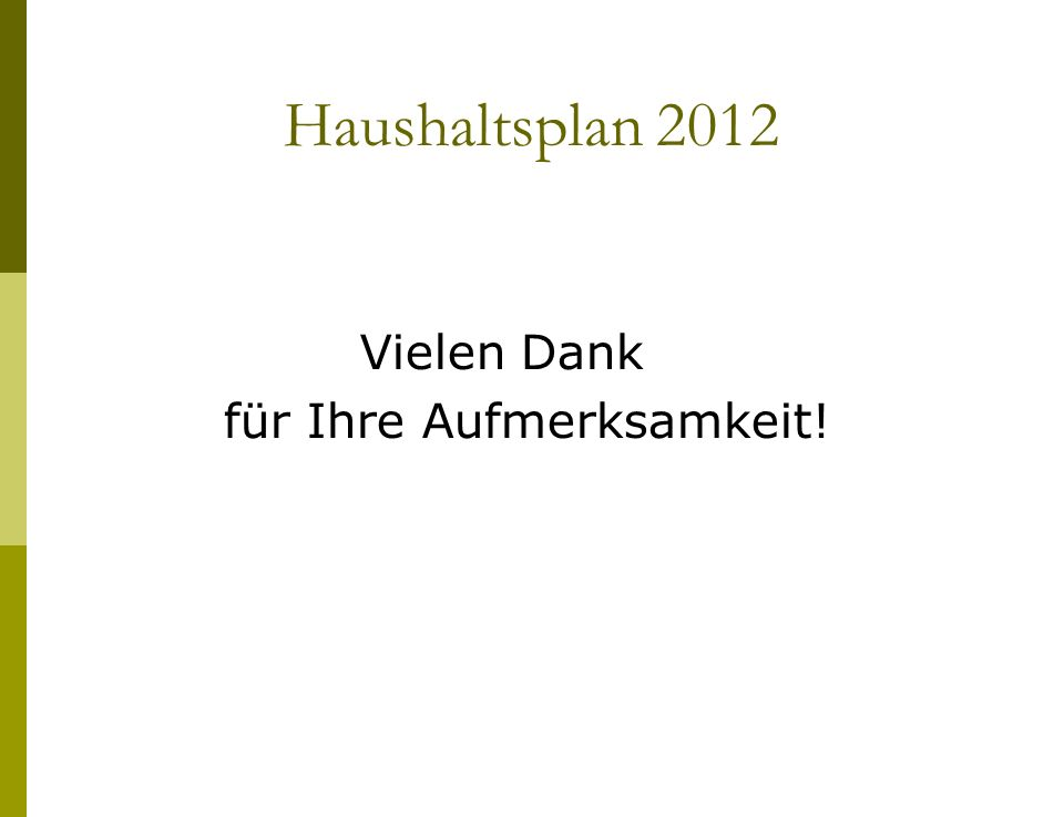 Haushaltsplan 2012 Vielen Dank für Ihre Aufmerksamkeit!