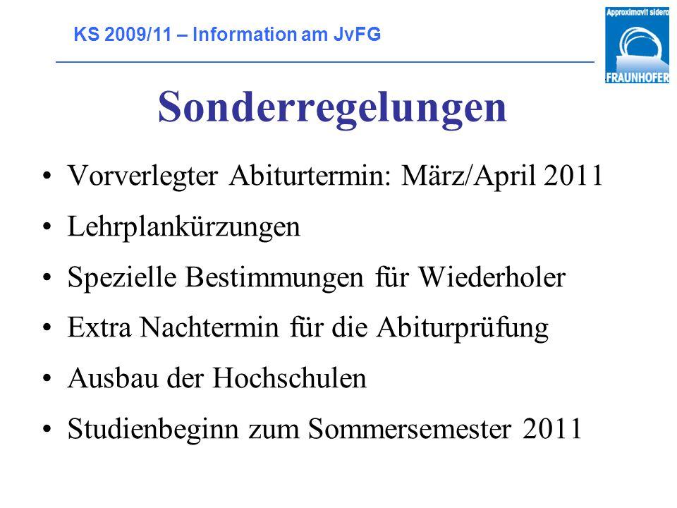 Sonderregelungen Vorverlegter Abiturtermin: März/April 2011