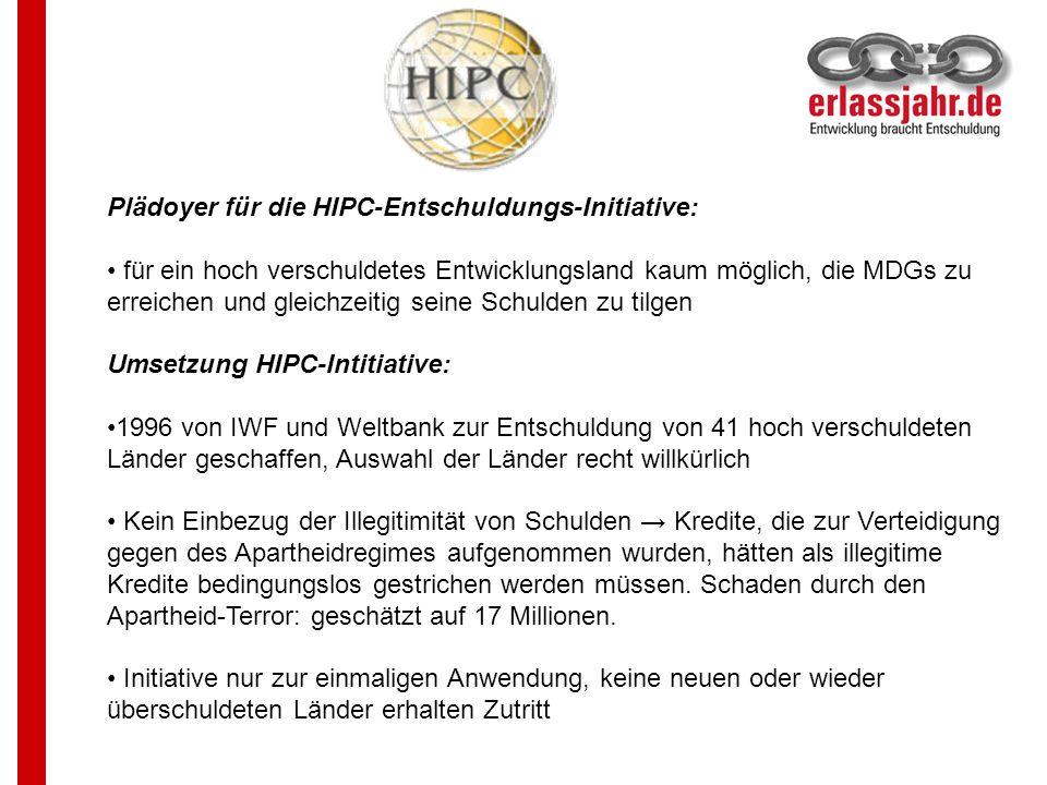 Plädoyer für die HIPC-Entschuldungs-Initiative: