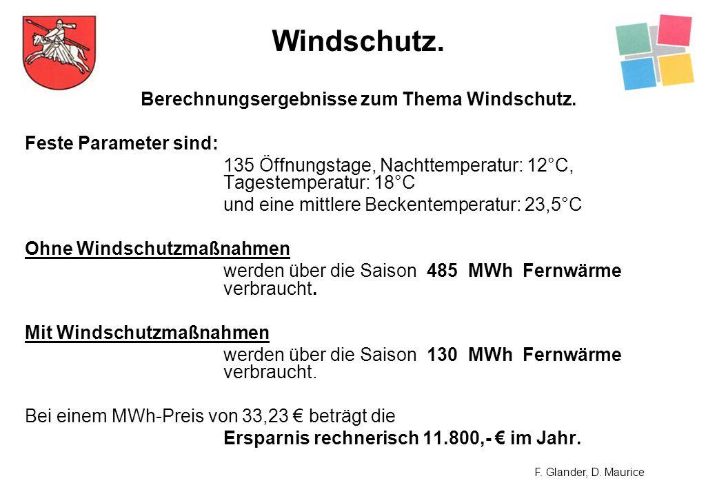 Berechnungsergebnisse zum Thema Windschutz.