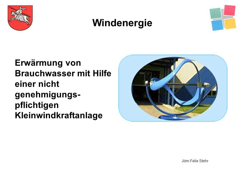 Windenergie Erwärmung von Brauchwasser mit Hilfe einer nicht genehmigungs-pflichtigen Kleinwindkraftanlage.