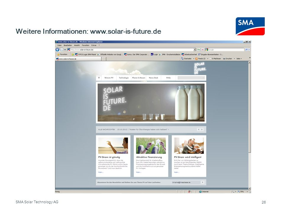 Weitere Informationen: www.solar-is-future.de