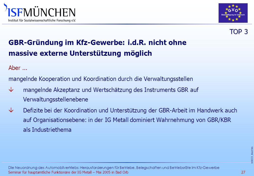 TOP 3 GBR-Gründung im Kfz-Gewerbe: i.d.R. nicht ohne massive externe Unterstützung möglich. Aber ...