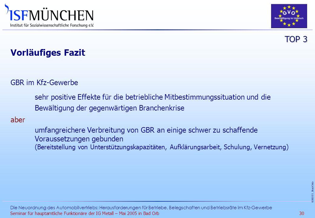 Vorläufiges Fazit TOP 3 GBR im Kfz-Gewerbe