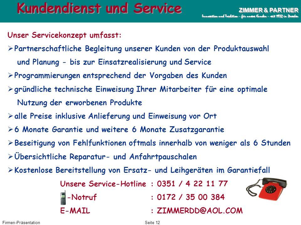Kundendienst und Service