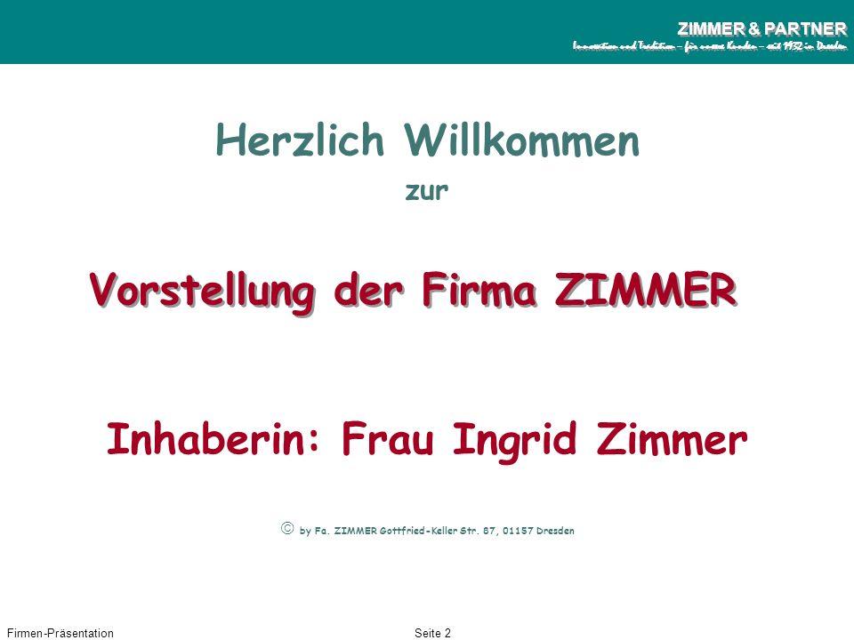 Vorstellung der Firma ZIMMER